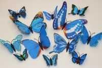 Набор бабочек на магните микс (синий), упак.12 шт.