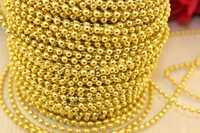 Бусы на нитке под жемчуг (золото), 3мм * 50 ярдов(+-5)