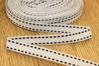 Декоративная лента с прострочкой (белый), 10мм * 6 ярдов