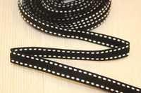 Декоративная лента с прострочкой (черный), 10мм * 6 ярдов
