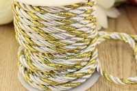 Шнур декоративный (серебристо-золотой), 5-6мм*10ярдов(+-1), упак.1шт