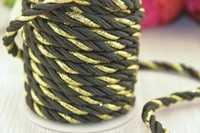 Шнур декоративный (черно-золотистый), 5-6мм*10ярдов(+-1), упак.1шт